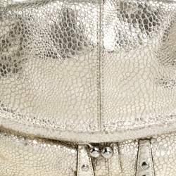 حقيبة هوبو كوتش طية علوية إطار جلد منقوش ذهبية