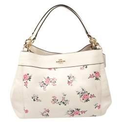 Coach Ivory Floral Print Leather Lexy Shoulder Bag
