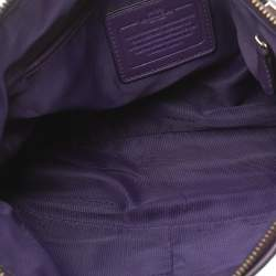 Coach Brown/Purple Signature Canvas and Leather Kelsey Satchel