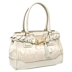 Coach White Signature Canvas and Leather Hampton Braided Tote