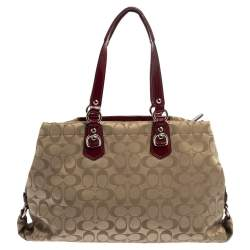 Coach Beige/Maroon Canvas and Patent Leather Ashley Satchel