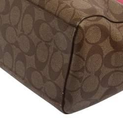 Coach Beige/Fuchsia Signature Coated Canvas and Leather Shoulder Bag
