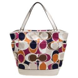 Coach Muticolor Part Op Ast Satin and Leather Carrie Tote