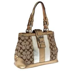Coach Metallic Gold/Silver Signature Canvas and Leather Tote