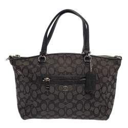 Coach Grey Signature Canvas and Leather Prairie Satchel