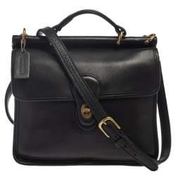 Coach Black Leather Vintage Willis Top Handle Bag