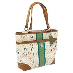Coach Multicolor Signature Coated Canvas and Leather Chelsea Heritage Stripe Tote