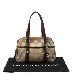 Coach Brown/Beige Signature Fabric and Patent Leather Soho Satchel