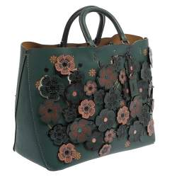 Coach Dark Green Floral Appliqué Leather Rogue Tote
