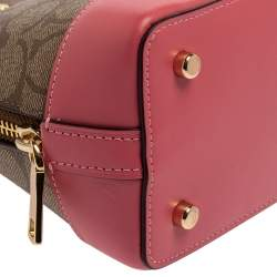 Coach Beige/Pink Signature Coated Canvas And Leather Mini  Sierra Satchel