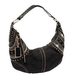 حقيبة كوتش سوهو كانفاس أسود بالشعار وجلد مرصعة