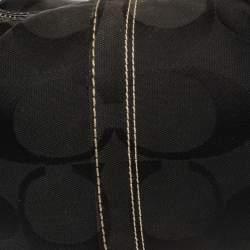 Coach Black Signature Canvas and Leather Soho Studded Hobo