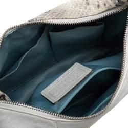 حقيبة يد كوتش كريستين جلد وجلد نقشة الثعبان أبيض