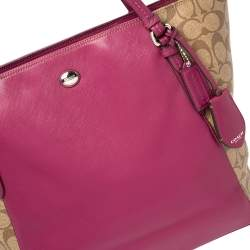 Coach Beige/Fuchsia Signature Coated Canvas and Leather Peyton Zip Tote