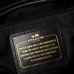Coach Black Signature Embossed Leather Turnlock Tote