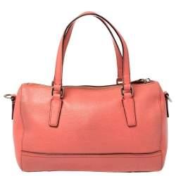 Coach Coral Orange Leather Boston Bag