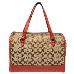 Coach Red/Beige Signature Canvas and Leather Satchel