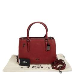 Coach Red Leather Brooklyn Carryall Satchel