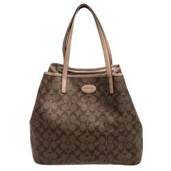 Coach Beige/Brown Signature Canvas and Leather City Zip Top Tote