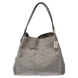Coach Grey Signature Canvas and Leather Edie 31 Shoulder Bag