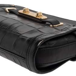 Coach Black Croc Embossed Leather Shoulder Bag