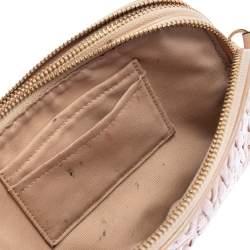 Coach Beige Gathered Leather Double Zip Camera Crossbody Bag