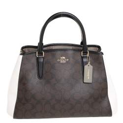 Coach Brown/White Signature Coated Canvas and Leather Sage Carryall Satchel