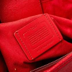 Coach Red Grained Leather Margot Satchel