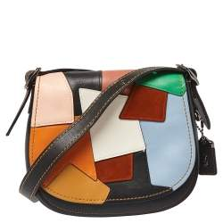 Coach Multicolor Leather and Suede Patchwork Saddle 23 Crossbody Bag