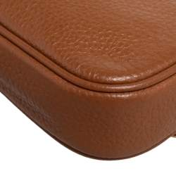 Coach Tan Pebbled Leather Double Zip Crossbody Bag