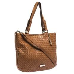 Cole Haan Brown Woven Leather Tote