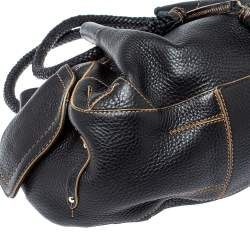 Cole Haan Black Leather Drawstring Braided Handle Hobo