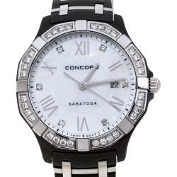 Concord White Mother Of Pearl Two-Tone Stainless Steel Diamond Saratoga CC.02.3.36.1091S Women's Wristwatch 31 mm