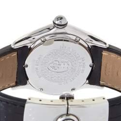 Corum White Stainless Steel & Leather Diamond Bubble 39.250.20 Women's Wristwatch 36 mm
