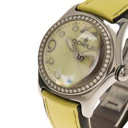 Corum Yellow Stainless Steel Diamond Bubble Women's Wristwatch 34MM