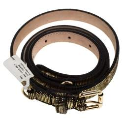 حزام دي&جي رفيع سلسلة سويدي و جلد لامع أسود و ذهبي 90 سم