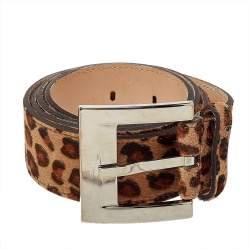 D&G Beige Animal Print Calf Hair Classic Belt 90CM