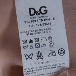 D & G Beige Silk Raw Edged Trim High Low Top S