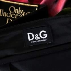 D & G Only Under 40 Vintage Black Rose Printed Satin Pencil Skirt L