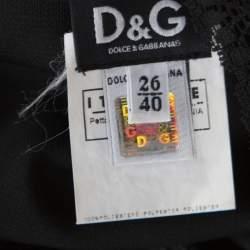 D&G Black Knit Lace Insert Detail Plunge Neck Top S