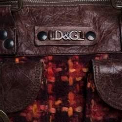D&G Brown/Orange Tweed and Leather Satchel