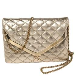 D&G Metallic Gold Quilted Leather Kisslock Foldover Chain Clutch