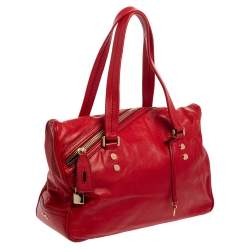D&G Red Leather Katri Satchel