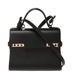 Delvaux Black Leather Tempete MM Top Handle Bag