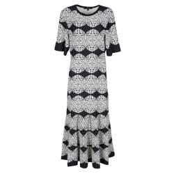Derek Lam Monochrome Medallion Lace Pattern Jacquard Knit Midi Dress M