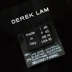 Derek Lam Grey & Black Silk Blend & Wool Front Zip Paneled Skirt L