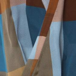 Derek Lam Brown & Blue Silk Check Draped Cross Over Front Blouse L