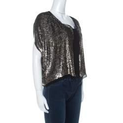 Derek Lam Metallic Sequin Embellished Silk Bolero M