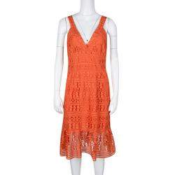 Diane Von Furstenberg Orange Guipure Lace Sleeveless Tiana Flounce Dress M