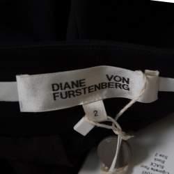Diane Von Furstenberg Black Wool Cigarette Pants S